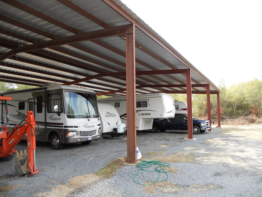 Covered Camper Storage at Fair Harbor RV Park and Campground