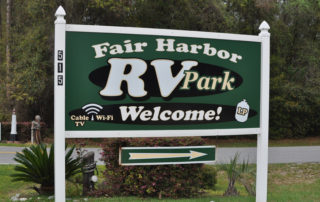 Welcome Sign at Fair Harbor RV Park and Campground