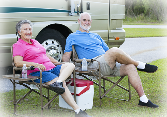 Photo of couple outside their RV